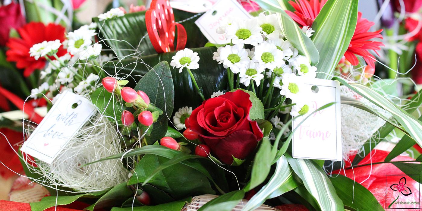 Pour la Saint Valentin, voici un exemple de bouquet rond à offrir