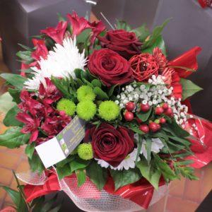 Bouquet varié tons rouge et blanc