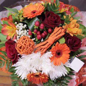Bouquet varié aux tons chauds